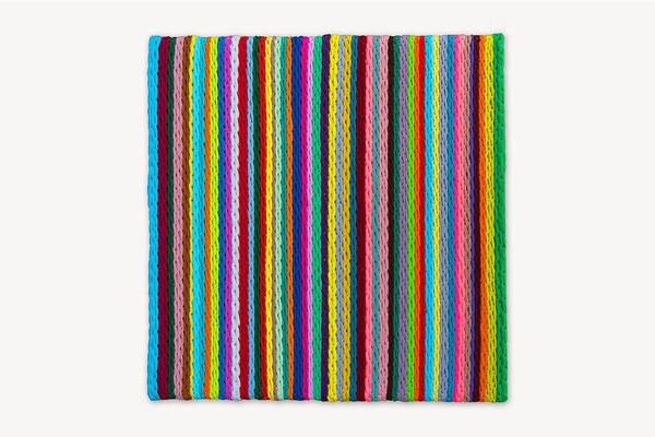 Barbara Reck-Irmler: Board 6 • 2017 • textile, wood  • 60 x 60 cm