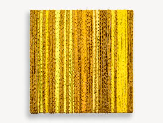 Barbara Reck-Irmler: BOX Nr. 15 ocker/gelb • 2019 • Textil, Holz • 70 x 72 x 9 cm
