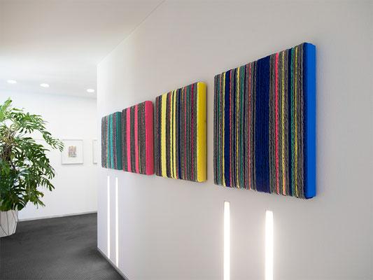 Barbara Reck-Irmler: BOX Nr. 18, 19, 20 und 21 • 2019 • Textil, Holz • je 70 x 72 x 9 cm • Privatsammlung