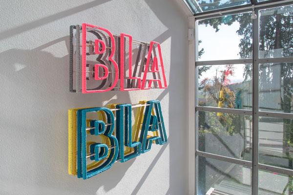 Barbara Reck-Irmler · BLA BLA BLA, installation · 2018 · textile, plywood, shelf brackets · 99 x 89 x 20 cm · private collection