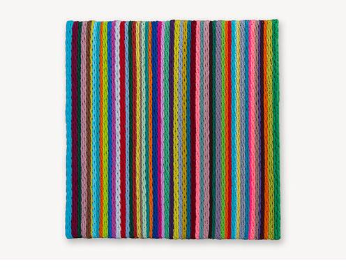 Barbara Reck-Irmler: Board 6 • 2017 • Textil, Schichtholz • 60 x 60 cm