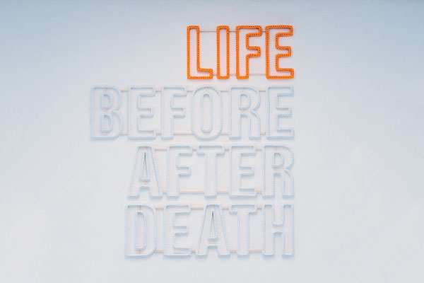 Barbara Reck-Irmler · LIFE BEFORE AFTER DEATH · 2019 · textile, plywood · 106 x 120 x 2,5 cm · private collection