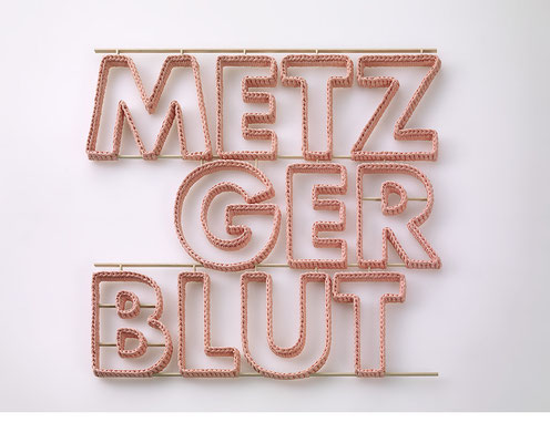 Betzenweiler Reihe: METZGERBLUT • 2015 • Textil, Schichtholz • 100 x 92 cm • Privatsammlung