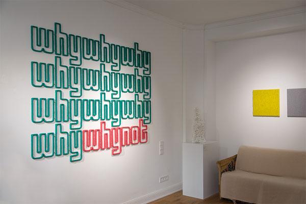 Barbara Reck-Irmler: why why ...why not Installation • 2017 • Textil, Schichtholz • 207 x 167 cm + Board 2, grau + Board 3, gelb • jeweils 2017 Textil, Schichtholz, 45 × 45 cm • Privatsammlung