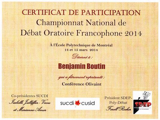 Certificat CNDOFC 2014
