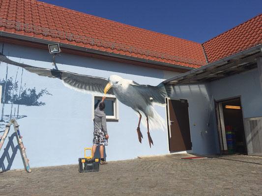 Fassadengestaltung Angermünde - Wandgestaltung Rostock Stralsund  Graffiti Ostsee -Airbrush Wandmaler