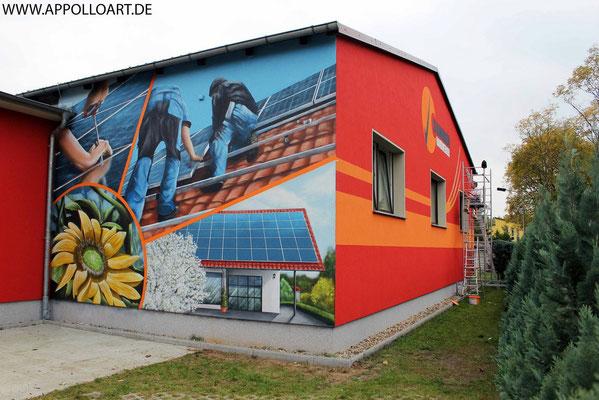 Sonnenhandwerker Fassadenbemalung mit Wandbild und Firmenlogo gestaltet in Fürstenwalde mit der Graffiti Kunst im schönen Brandenburg Oder Spree.Kindertanz.Berlin Airbrush