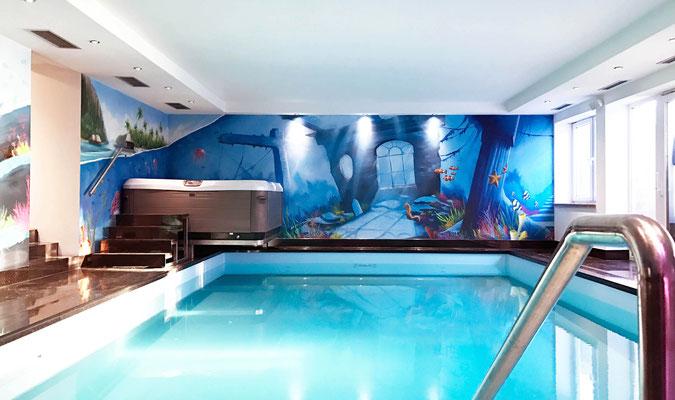 Graffitikunst im Schwimmbad im 3d Still