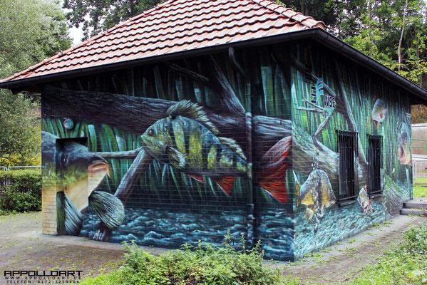 Unterwasserlandschaft Motiv Graffiti. Fassadenmalerei auch für Hobbyangler und Angelvereine machbar