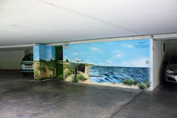 Tiefgarage gestalten lassen- Fassadengraffiti- Fassadenkunst Potsdam