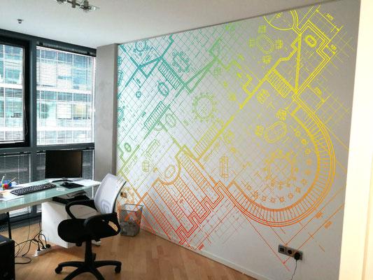 Bild Vorentwurf , damit der Auftraggeber eine Vorstellung bekommt wie das Wandbild im Büro wirkt