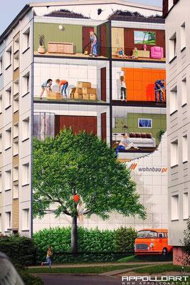 Stadtbild von Prenzlau durch Fassadenkunst verschönert