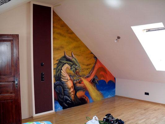 Innenraumgestaltung Drachen im Giebel vom Kinderzimmer / Comic Nordsee