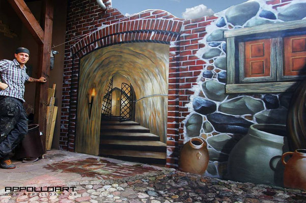 Imitation von Steinmauer und Airbrush im Eigenheim Frankfurt