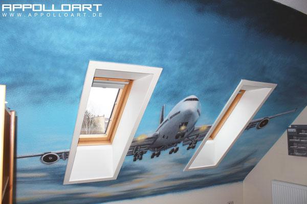 realistische Wandbilder vom Künstler auf die Wand gemalt Berlin strausberg hamburg Flugzeug Flughafen