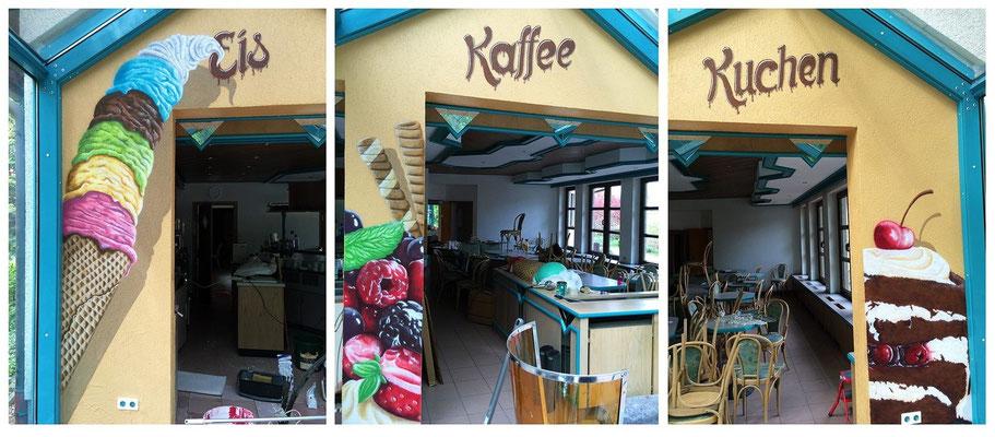 Eis Caffee Kaffee Werbemaßnahme Fruchteis an die Innenwand Farbe aus der Spraydose