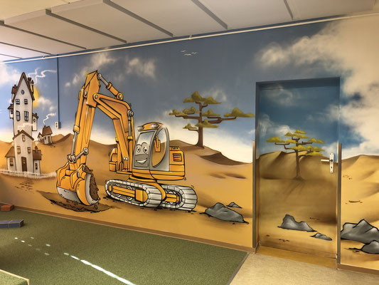 Kinderzimmer und Arzt Praxis Kinderarzt - Empfang Graffiti Bilder- Graffitikünstler