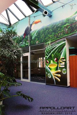Büroräume anders in Szene gesetzt der Arbeitsdschungel auf die Wände gebracht mit Illusionen in der Malerei