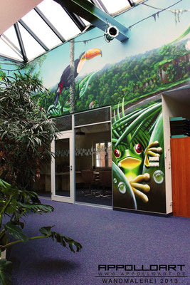 Büroräume anders in Szene gesetzt der Arbeitsdschungel auf die Wände gebracht mit Illusionen in der Malerei Makon Bau