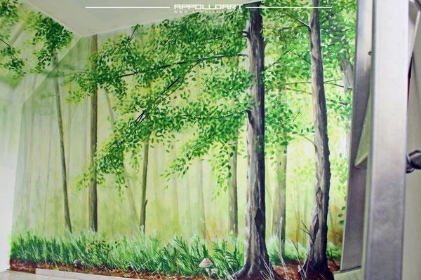 Küchenbemalung Wandbild Wald Pflanzen Airbrush auf Wand
