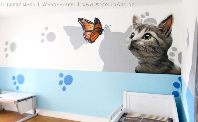Graffitikünstler Berlin malt Graffitbild von Katze im Innenraum Kinderzimmer Hamburg