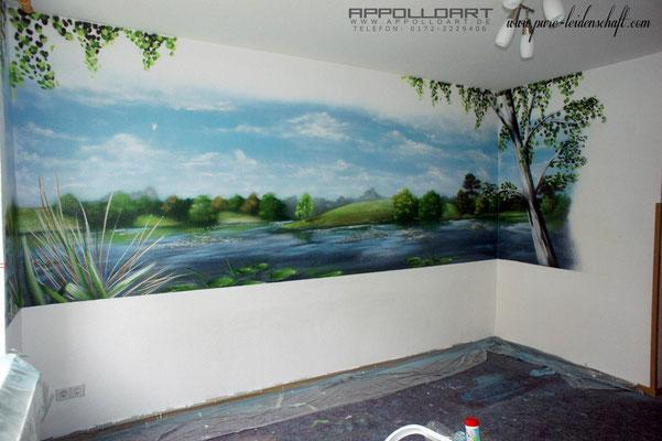 Graffiti oder Airbrush in der Wandgestaltung kam beides zum Einsatz