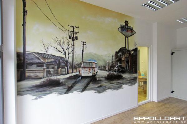 Innenraum Airbrush Illusionsmalerei auf Büro und Geschäftswand Auftragsmalerei Berlin