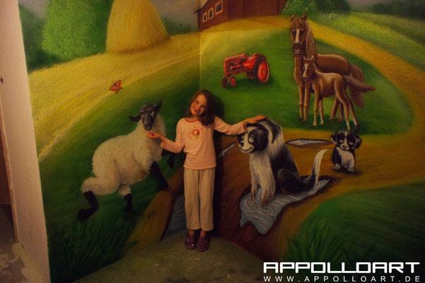 Autoairbrush gehört aufs Auto . 3d Wandbemalung die Kinder einen gemalten Bauernhof Mitte