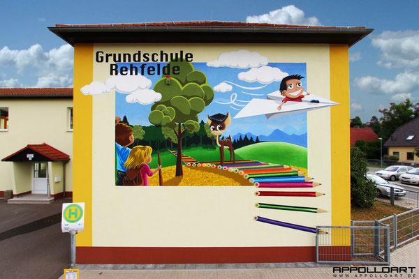 Grundschule Schule Fassadenkunst Giebel Bemalung bundesweit
