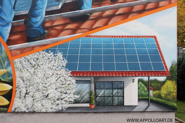 Fassadenmaler mit Wandbilder und Firmenlogo gestaltet in Fürstenwalde mit der Graffiti Kunst im schönen Brandenburg Oder Spree. Solar Solaranlage.Empfangsbereichgestaltung.Immobilien