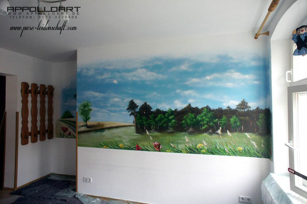 Comic sollte es von unserer Seite sein, aber heraus kam dieses schöne Wandbild im Innnern Berlin Brandenburg Mol