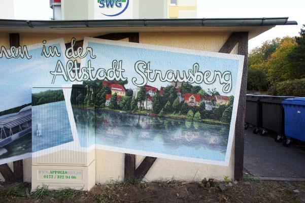 Landschaftsmalerei auf Betonwand Aussengraffiti  - Rostock