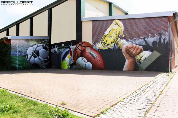 Wandmalerei Fassade- Brandenburg Cottbus Graffitikünstler