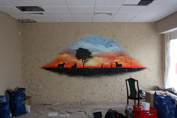 Innenraum Wandgestaltung. Wandbemalung vom Strausberger Steakhouse
