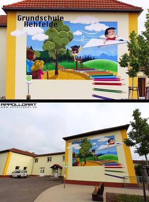 Graffiti Grundschule Fassadenmalerei Rehfelde