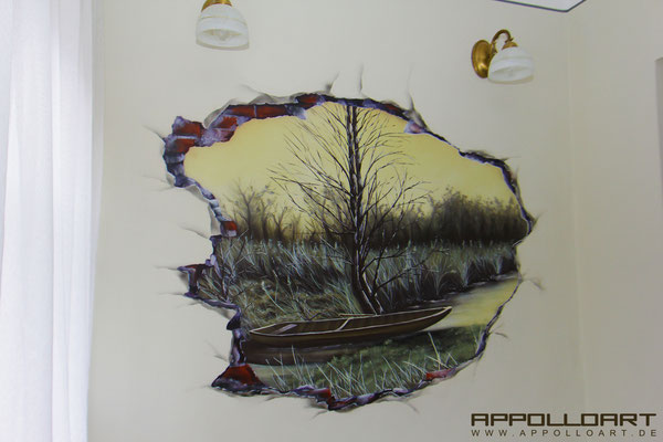 Loch in der Wand-Wandmalerei Eberswalde-Wand Motiv Bild Bilder
