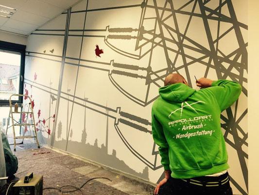 Wand und Deckenmalerei in 3d -Graffiti Bernau Stadtwerke
