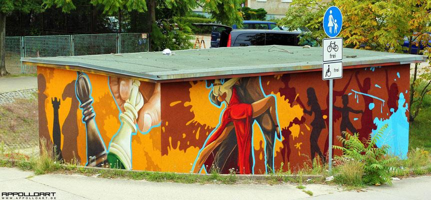 Stromhaus Bemalung 3d Graffiti Fassadenbild Sport, Magdeburg