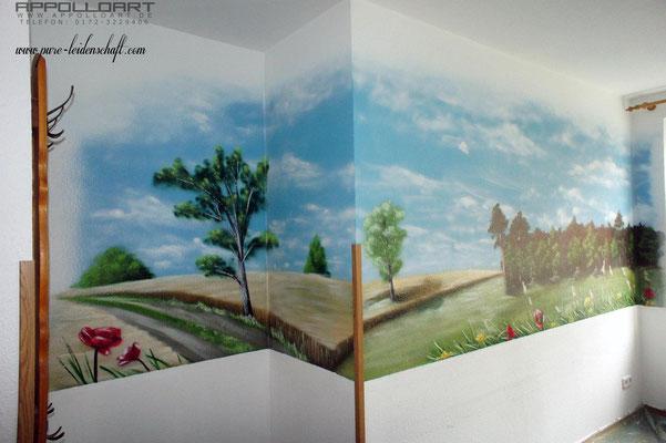 Wandbild und Wandbilder lassen die Grippe vergessen Wartezimmer Arztpraxis Airbrush