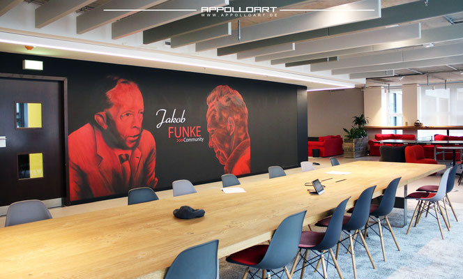 Raumdesign im Konferenzraum mit Wandbild durch Wandkunst in 3d Optik Funke Media Gruppe