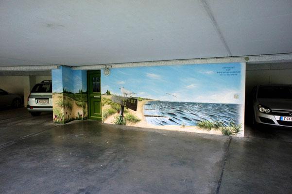 Tiefgarage bemalt mit Wandmalerei