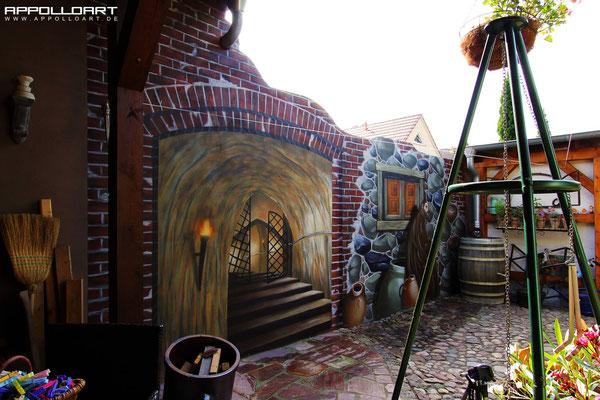 Illusion von mittelalterlicher Gruft und Wand / Stein und Beton Malerei Illusionsmalerei in 3d Optik