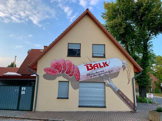Fleischerei Wurst Graffiti Fassadenbild Motiv Sudring Autobahn