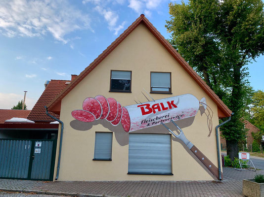 Fleischerei Wurst Graffiti Fassadenbild Motiv Südring Autobahn