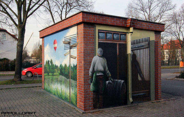 Fassadengestaltung mit Graffiti- Wandmalerei Trafostation - Bernau