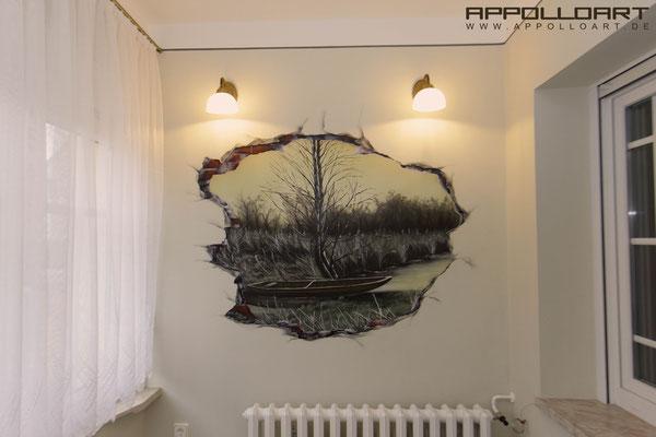Wandbemalung Innenraum- Britz Wohnzimmer Empfangsbereich