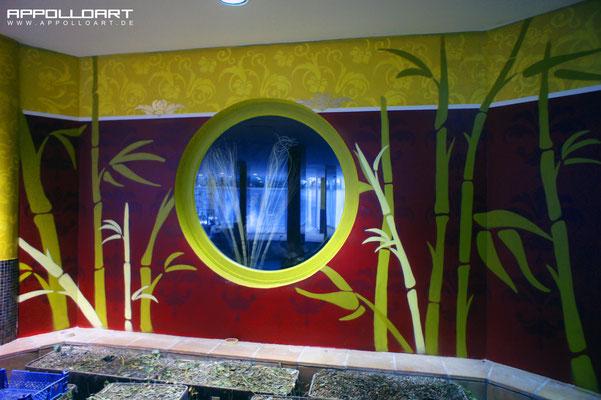 Wellness im Hotel Graffitigestaltung Illusionsmalerei im Innenbereich