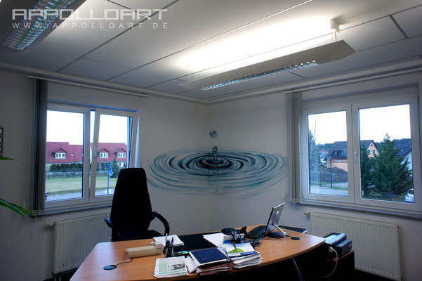Geschäftsführer Geschäftsführerbüro grafisch gestaltet Innenraum Design Wandbild