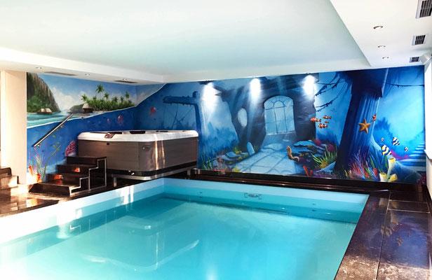 Schwimmbad gestalten mit Wandbild Hessen