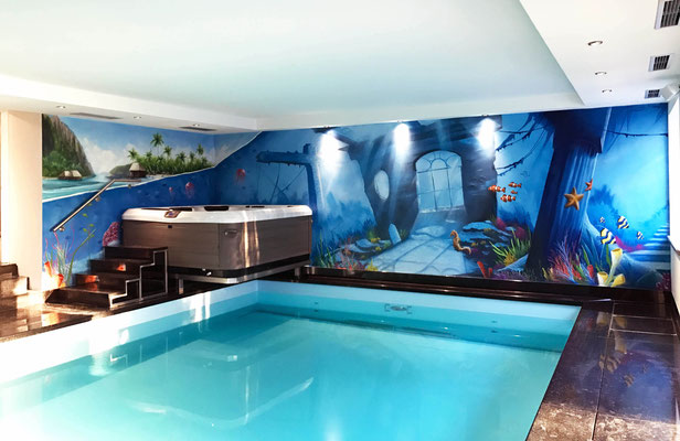 Schwimmbad gestalten mit Wandbild in Hessen Graffitikunst Graffitikuenstler Hessen
